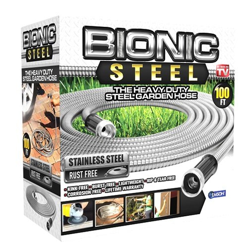 Bionic Steel Stainless Steel Super Durable Metal Garden Hose Lightweight & Kink-Free, 25... by E MISHAN & SONS INC