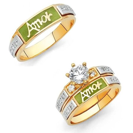 14k Two Tone Gold Engagement 1ctw CZ Green Enamel Solitaire with Accent Trio Set Amor Matching Wedding Band Men's Size 10 & Women's Size 7 - Available All Sizes (14k Two Tone Light)