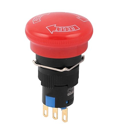 - 16mm 3 Pin SPDT NO/NC Mushroom Head Emergency Stop Push Button Switch