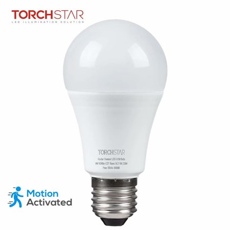 Crystal Hyper White Bulbs - TORCHSTAR 9W A19 Motion Sensor Light Bulbs, Dusk to Dawn LED Light Bulbs for Driveways, Basements, Garages, 6000K Pure White, E27 Base