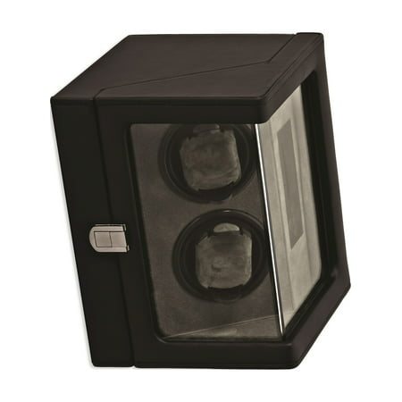 Rotations Black PU Faux Leather Double Watch Winder (9.6x6.5mm)