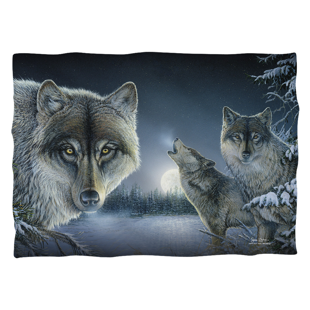 Wild Wings Midnight Wolves 2 (Front Back Print) Poly 20X28 Pillow Case White One Size