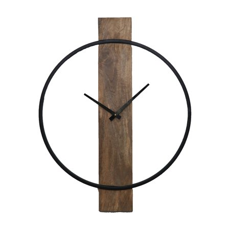Pearl Wood Natural and Black 20 in. Wall Clock ()