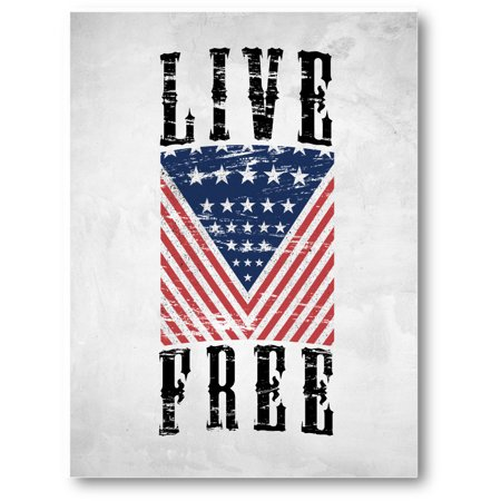 Awkward Styles USA Canvas Art American Flag Canvas Live Free Patriotic Gifts American Wall Decoration Motivational One Nation 4th of July Proud American Gifts
