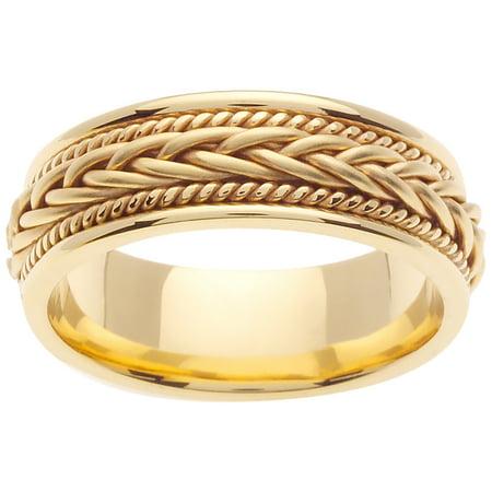 18K Gold French Braid Handmade Comfort Fit Women