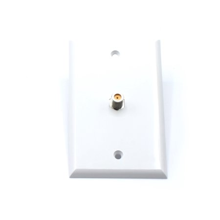 White Video Wall Jack for Coax Cable F Type Coaxial Wallplate (Wall Plate)  – 3 GHz Coupler approved for Comcast, DIRECTV, Dish Network, and Antennas