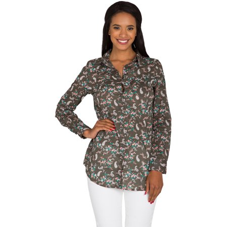 S&P Junior Women's Olive Poplin Paisley Floral Printed Button Down Collared Long sleeve (Paisley Button Down Shirt)