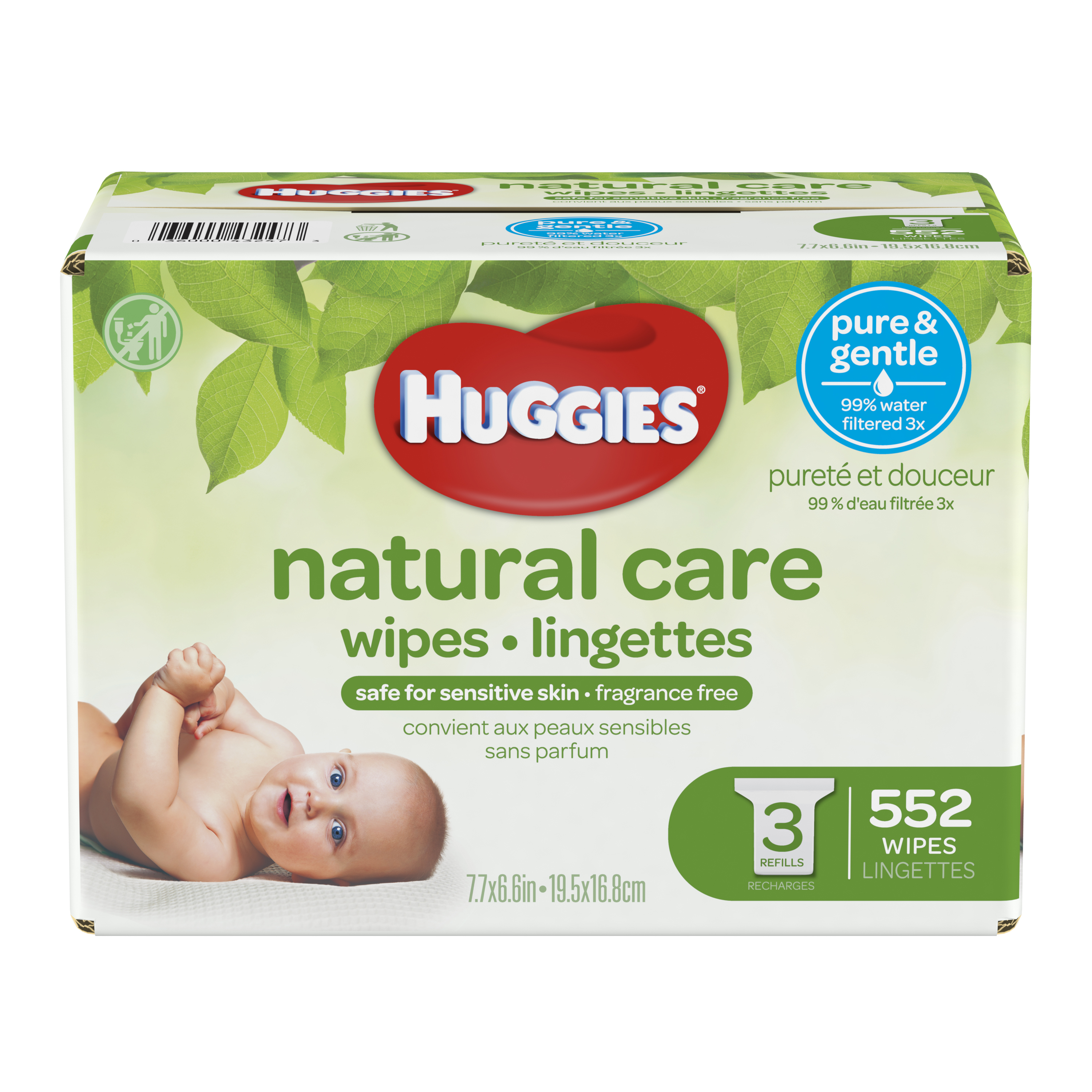 Huggies Natural Care Baby Wipes, Unscented Refills (552 count)