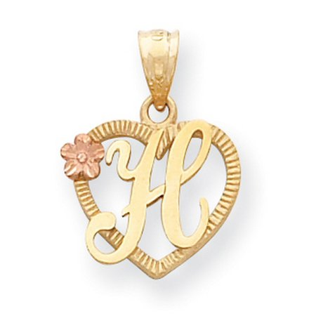 5658f5010 Jewelry Stores Network - 14k Yellow Gold Letter H Initial With Rose Gold  Flower Heart Pendant 22x16mm - Walmart.com