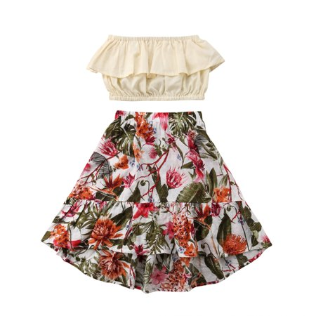 Kids 50s Outfit (2PCS Toddler Kids Baby Girl Summer Clothes Ruffle Floral Tops Crops Skirt Dress Outfits)