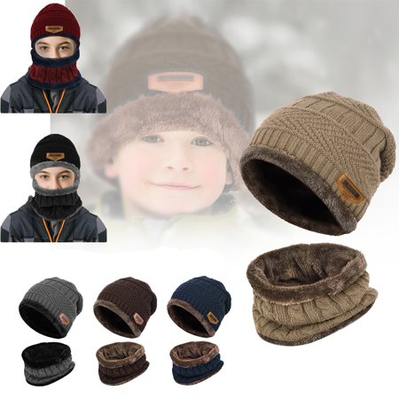 Warm Knit Hat and Circle Scarf for Boys and Girl Winter Knit Cap with Fleece Lining, 2 Pieces - Hot Navy Girls