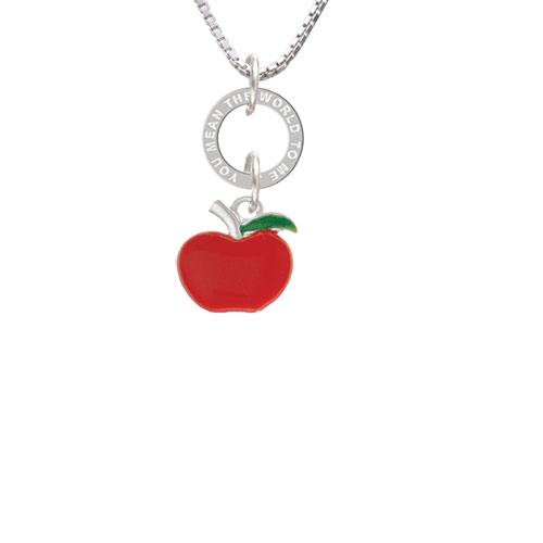 Small Red Apple - You Mean The World Eternity Ring Necklace