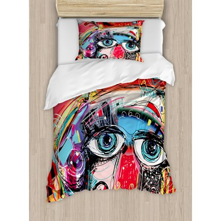 Art Decor Twin Size Duvet Cover Set, Grafitti like Sketchy Colorful Painting with Human like Face Dog Animal Image, Decorative 2 Piece Bedding Set with 1 Pillow Sham, Multi Colored, by Ambesonne