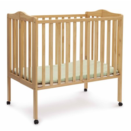 Infant Wood Crib - Delta Children Folding Portable Mini Crib with Mattress Natural