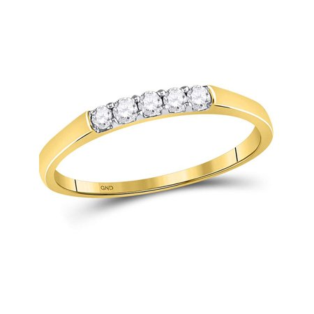 10kt Yellow Gold Womens Round Diamond Single Row 5-stone Band Ring 1/6 Cttw - image 4 of 4
