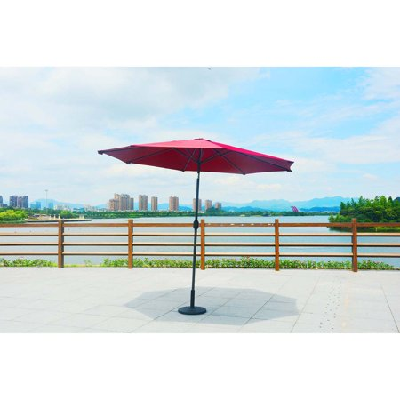 Direct Wicker 9.84 ft Outdoor Patio Umbrella Aluminum Table Market Umbrella 8 Ribs Crank Lift Push Button Tilt with Different Color