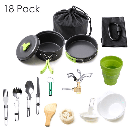 18Pcs Camping Cookware Pot & Pan Set Mess Kit Backpacking Outdoor Cooking Bowl Hiking Gear fishing Survival