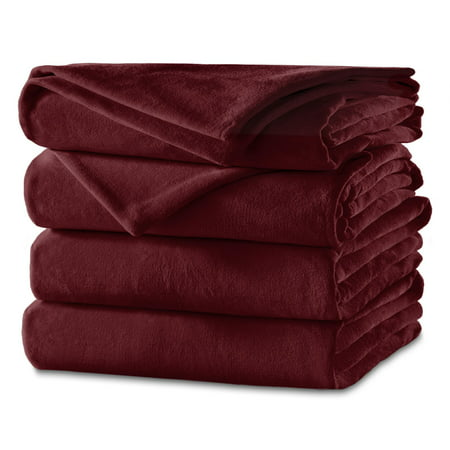 Sunbeam Heated Electric Channeled Velvet Plush Blanket, Twin, Garnet