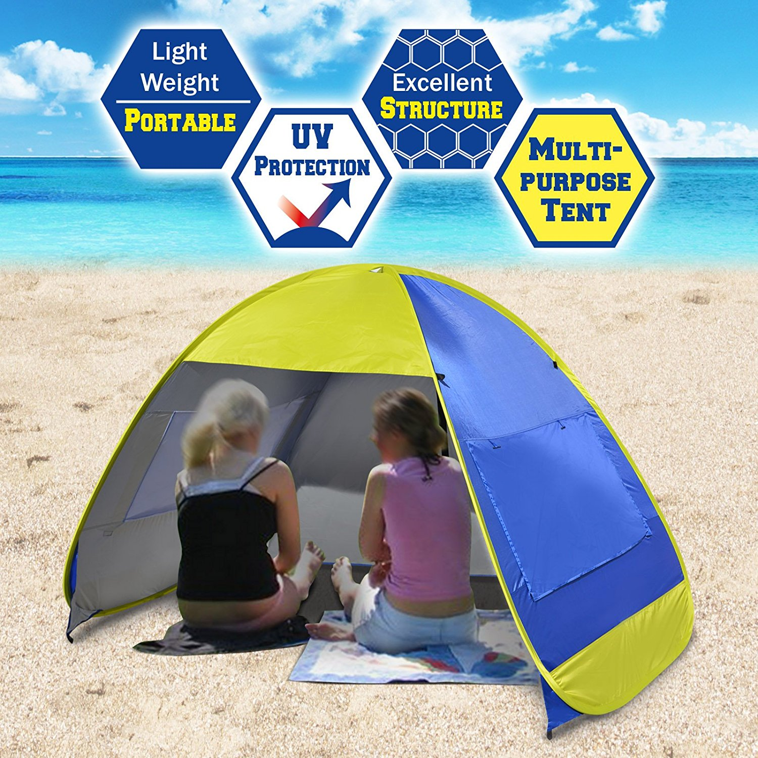 Strong Camel Instant Pop Up Beach Tent Portable Canopy Family Sports Sun Shade Shelter Outdoor Hiking  sc 1 st  Walmart & Strong Camel Instant Pop Up Beach Tent Portable Canopy Family ...