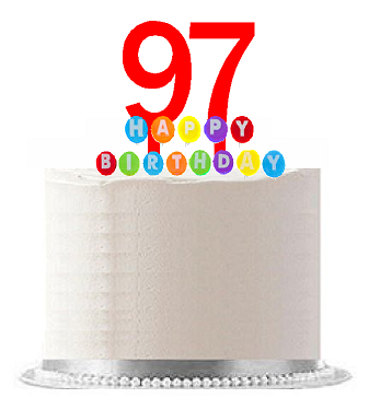 Item#097WCD - Happy 97th Birthday Party Red Cake Topper & Rainbow Candle Stand Elegant Cake Decoration Topper Kit