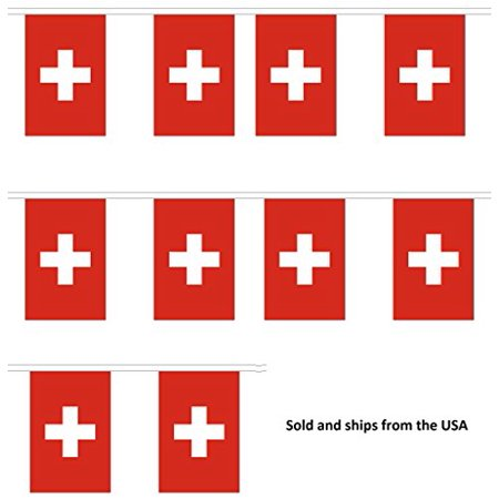 10' Switzerland String Flag Party Bunting Has 10 Swiss 6