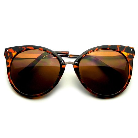 Pointed Horn Rimmed Indie Retro Cat Eye Sunglasses Metal Studs (Black Pointed Sunglasses)