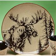 10.5 Inch Glazed North American Woodlands Design Plate, Moose