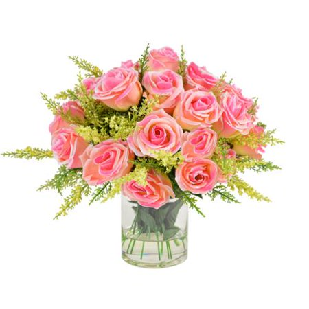 Creative Displays 11 Inch Pink Rose Bouquet In Acrylic