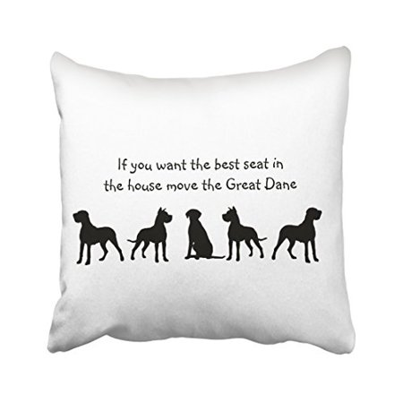 WinHome Black And White Great Dane Humor Best Seat In House Dog Silhouette Polyester 18 x 18 Inch Square Throw Pillow Covers With Hidden Zipper Home Sofa Cushion Decorative