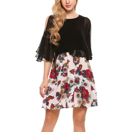 Women Cold Shoulder Half Sleeve Floral Patchwork Chiffon A-line Dress HFON