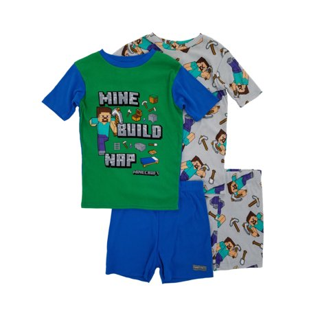 Minecraft Mine Build Nap Boys 4-Piece T-Shirts & Shorts Sleepwear Pajama Sets](Mime Robe)