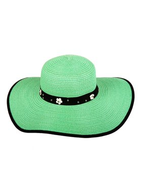 Chic Headwear Floppy Paper Braid Sun Hat w/ Flower