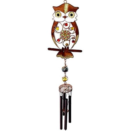 Owl Wind Chimes (Whimsical Gemstone Hoot Owl Resonant Relaxing Copper Wind Chime Garden)