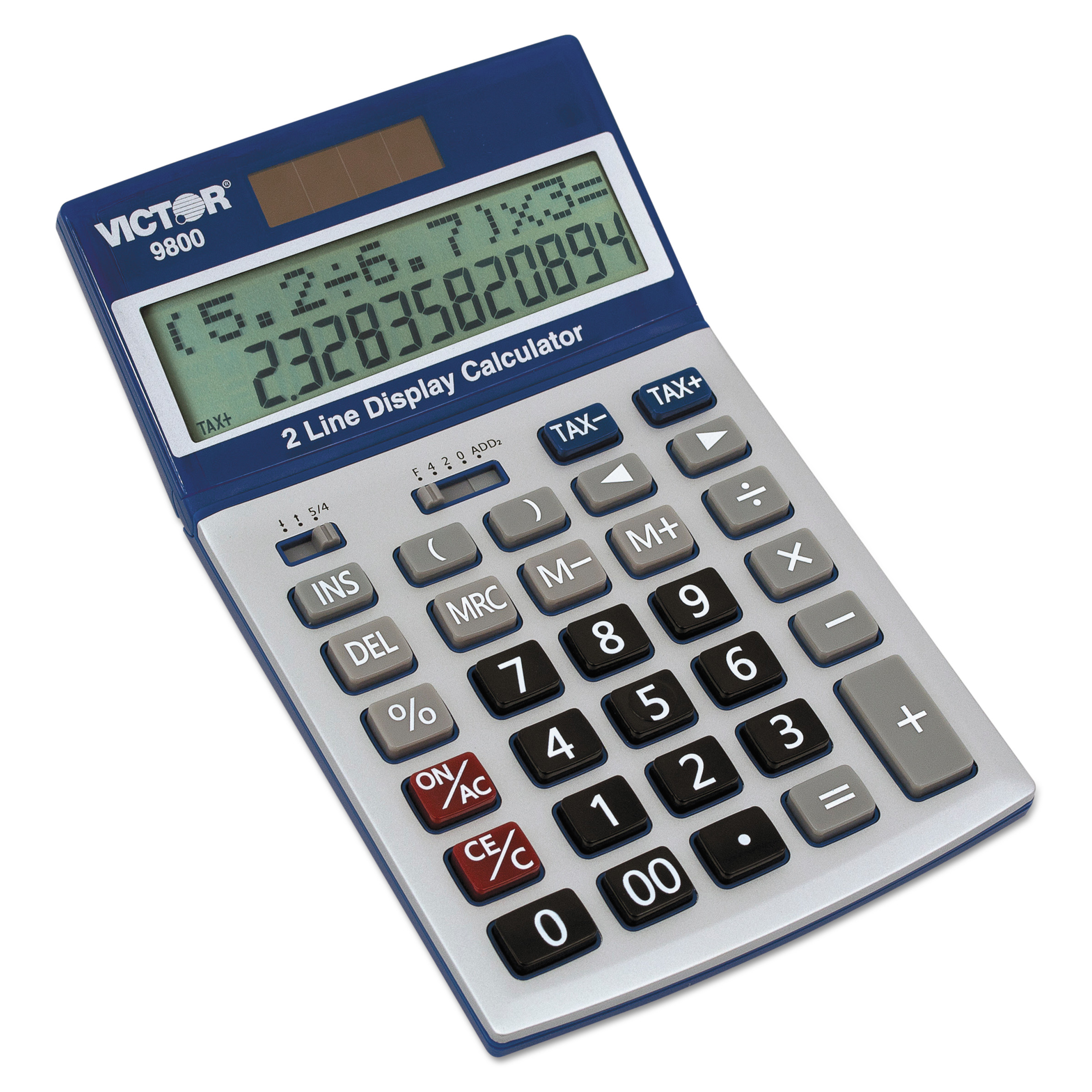 Victor 9800 2-Line Easy Check Display Calculator, 12-Digit, LCD -VCT9800