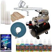 Master Airbrush Dual Fan Air Storage Tank Compressor Kit with Gravity Feed Airbrush, 6 Color Acrylic Paint Artist Set