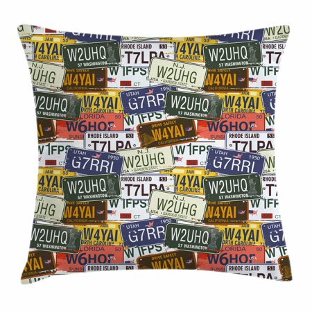 USA Throw Pillow Cushion Cover, Retro American Auto License Plates Utah Washington Rhode Island North Carolina Print, Decorative Square Accent Pillow Case, 18 X 18 Inches, Multicolor, by Ambesonne