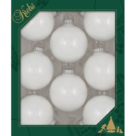 Christmas by Krebs Seamless Glass Christmas Ornaments White 2 5/8
