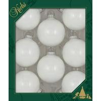 """Christmas by Krebs Seamless Glass Christmas Ornaments White 2 5/8"""""""