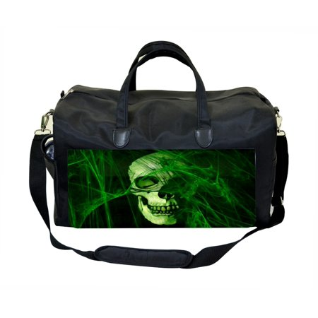 Green Grunge Sugar Skull  Large Black Duffel Satchel Style Therapy Supplies / Therapist's Bag for $<!---->