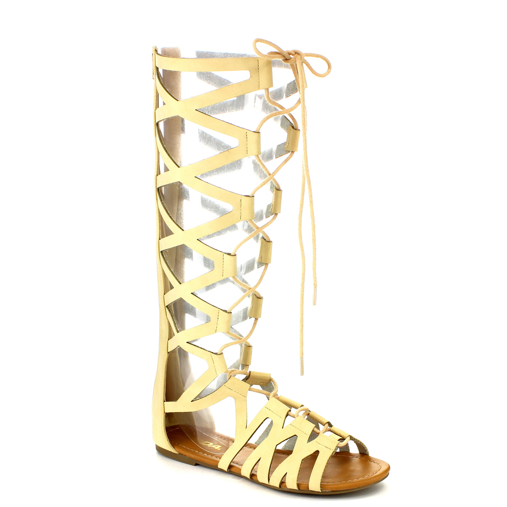 SODA IA03 Women's Criss Cross Strap Lace Up Back Zip Gladiator Flat Sandals