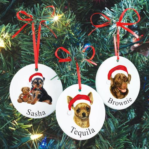 Personalized Dog in Santa Hat Ornament