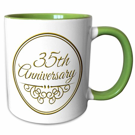 3drose 35th Anniversary Gift Gold Text For Celebrating Wedding Anniversaries 35 Years Married Together Two Tone Green Mug 11 Ounce Walmart Com Walmart Com