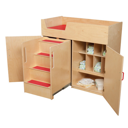 Wood Designs Deluxe Infant Care Center with Safety Steps Changing Table