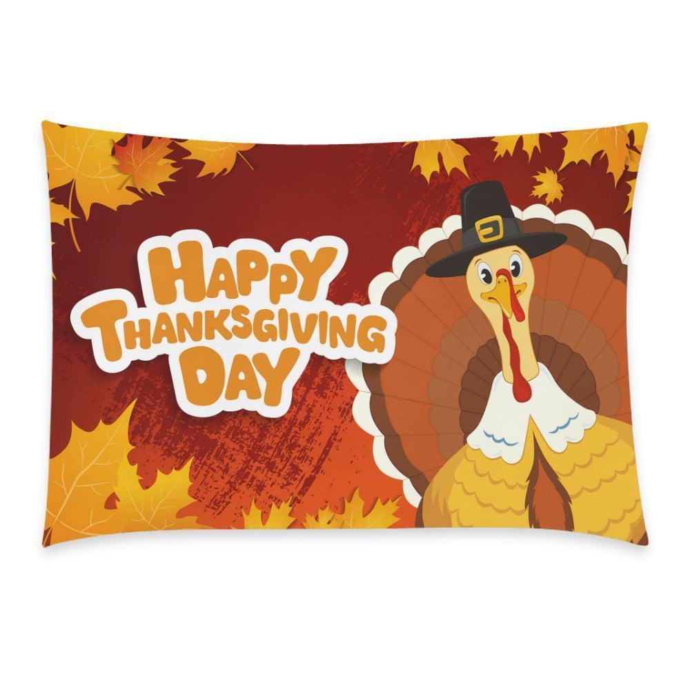 ZKGK Happy Thanksgiving Hispter Turkey Home Decor Pillowcase 20 x 30 Inches,Autumn Maple... by ZKGK