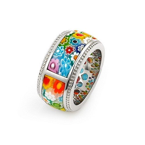 Plutus Partners Millefiori Sterling Silver Segmented Band Glass Ring