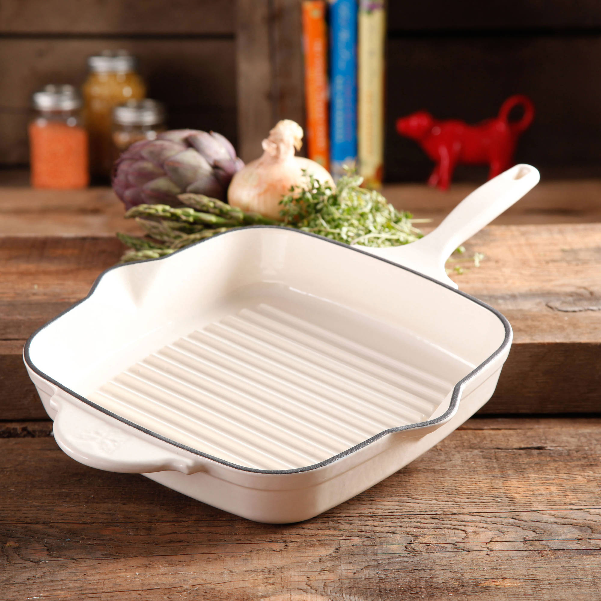 """The Pioneer Woman Timeless Square Cast Iron 10.25"""" Cast Iron Enamel Grill Pan"""