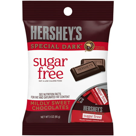 HERSHEY'S Sugar Free SPECIAL DARK Mildly Sweet Chocolate Bars, 3 oz