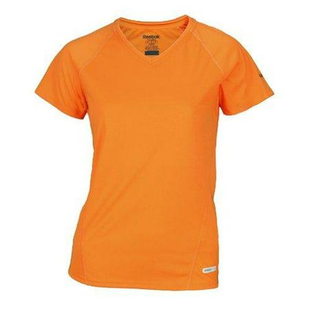 Reebok Speedwick Womens Athletic Fitted Tee Shirt, Orange