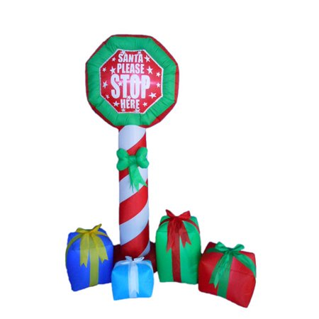 BZB Goods Christmas Stop Sign with Gift Boxes Christmas Decoration