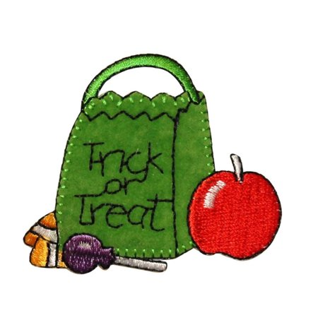 ID 0852 Trick or Treat Candy Bag Patch Halloween Embroidered Iron On Applique - Tricks On Halloween